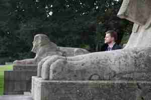 Tom with the sphinxes in Crystal Palace Park (photo by James Balston)