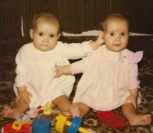 Writing partners C L Raven when they were babies