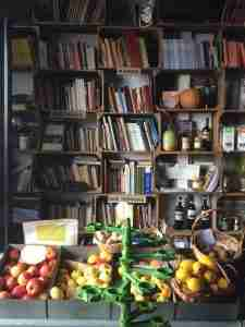 Fruit and books in Obidos